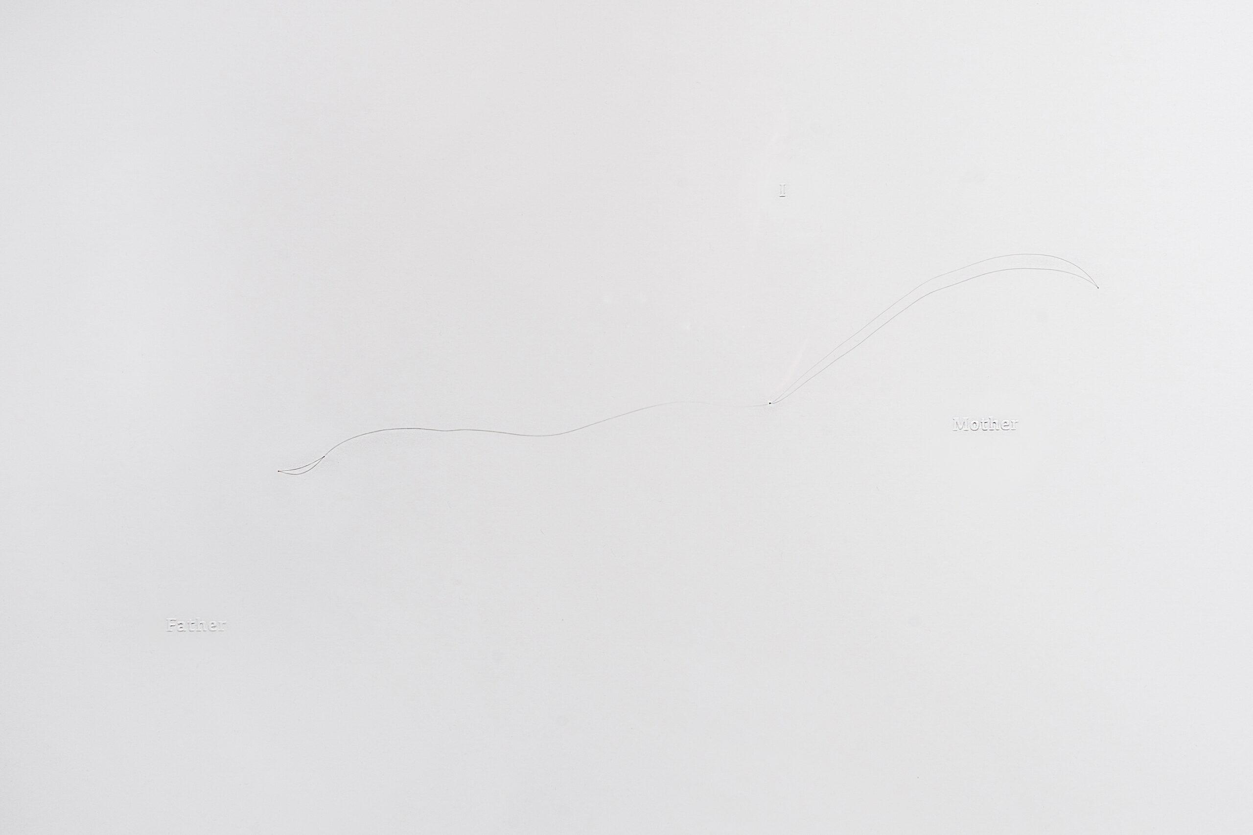 《失去之歌 III-I》(A Song for Loss III-I),版畫、打凸、髮絲,54X36cm,2020