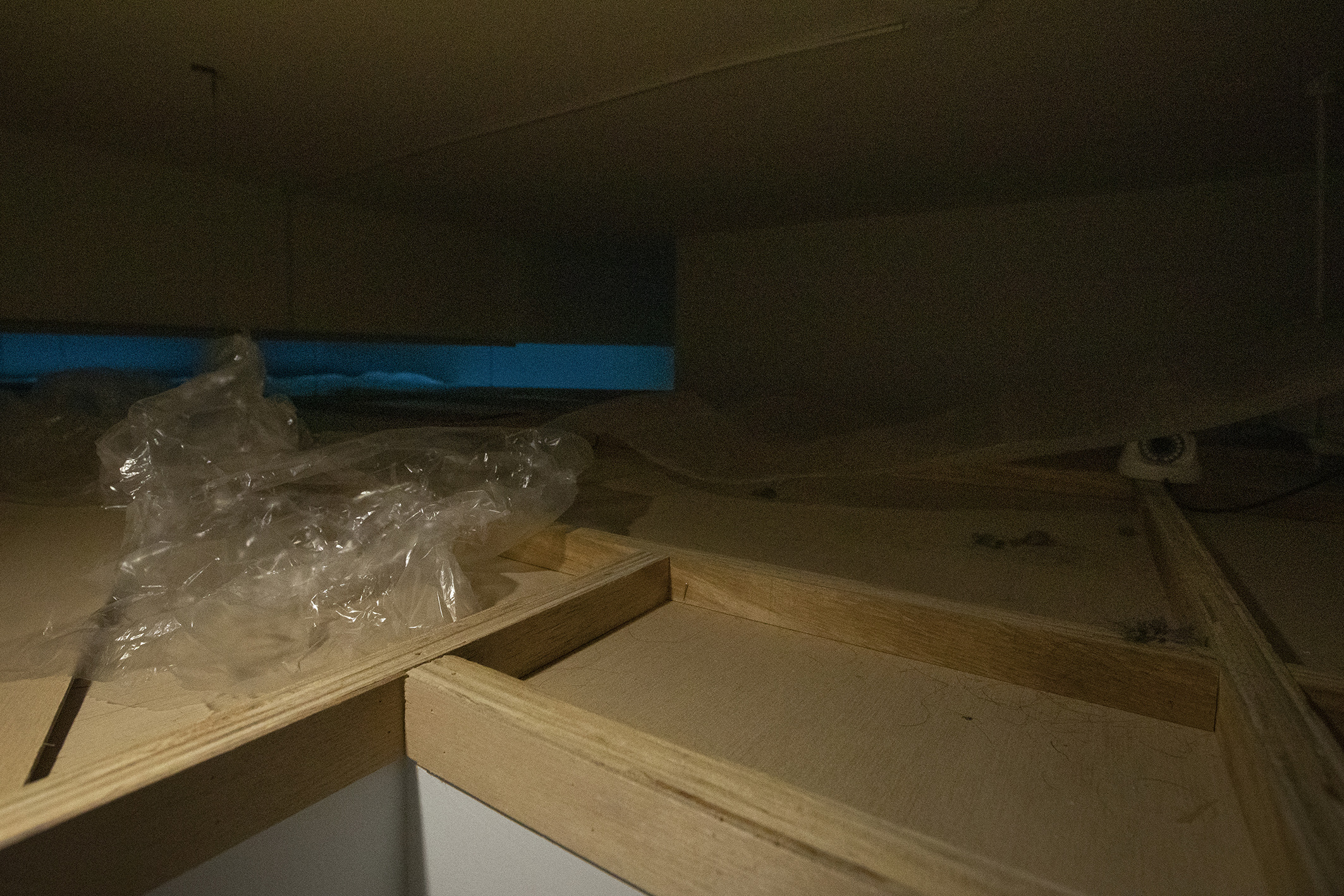 At Present, and Gallery's Mezzanine, Site specific (abandoned construction material, dust, CCTV), Dimensions variable, 2021