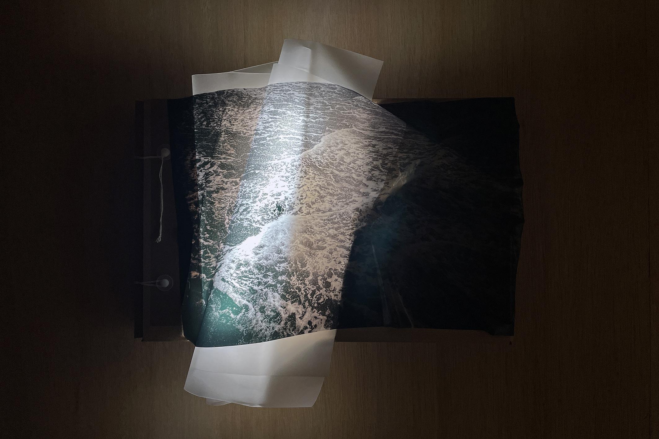 Nowhere II, Mixed media (image, LED light, carton), 36x54x6cm, 2021